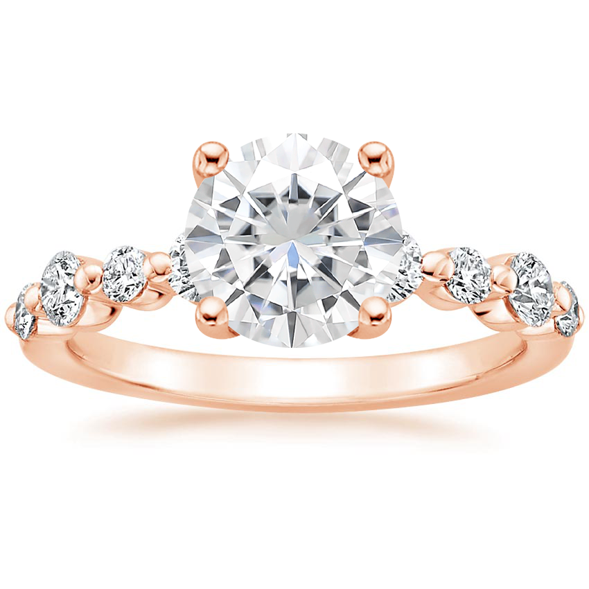 Rose Gold Moissanite Bordeaux Diamond Ring