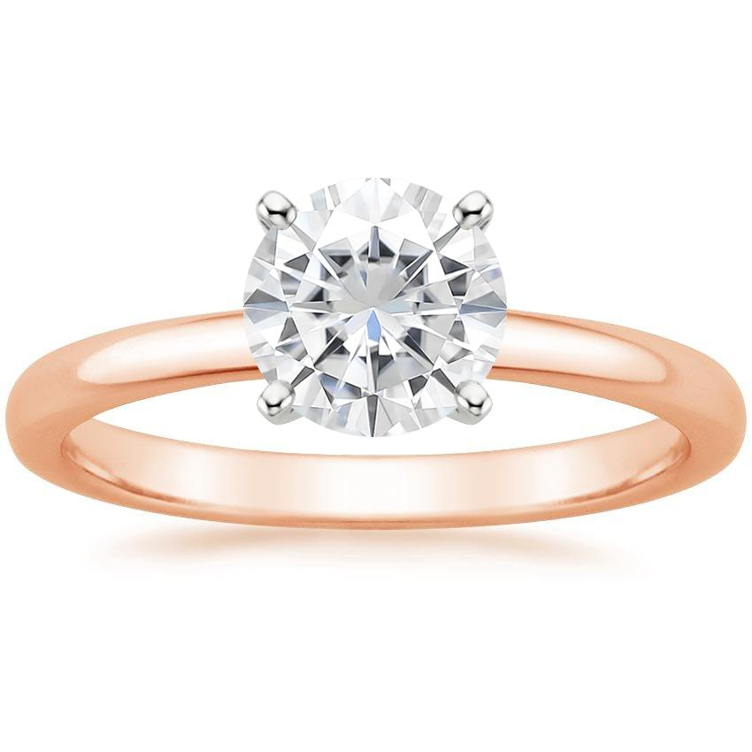 Rose Gold Moissanite 2mm Comfort Fit Ring