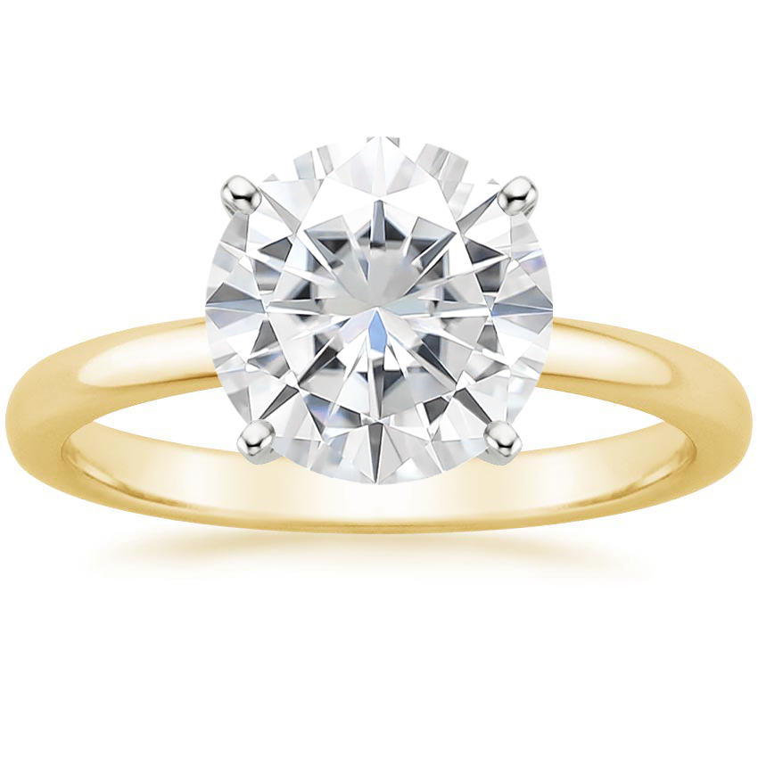 Yellow Gold Moissanite 2mm Comfort Fit Ring