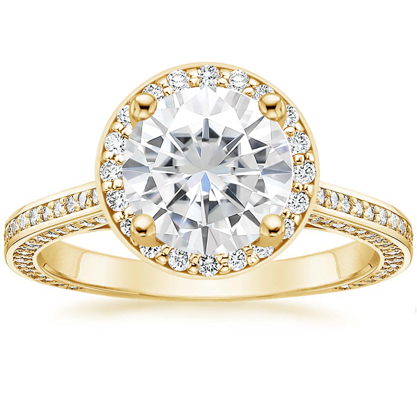 Yellow Gold Moissanite Enchant Halo Diamond Ring