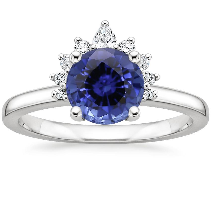 Sapphire Crescent Diamond Ring in 18K White Gold