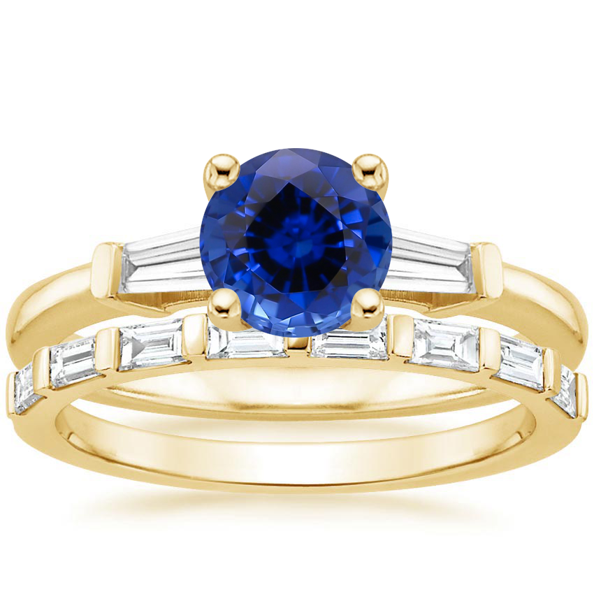 18KY Sapphire Tapered Baguette Diamond Ring (1/5 ct. tw.) with Barre Diamond Ring (1/4 ct. tw.), top view