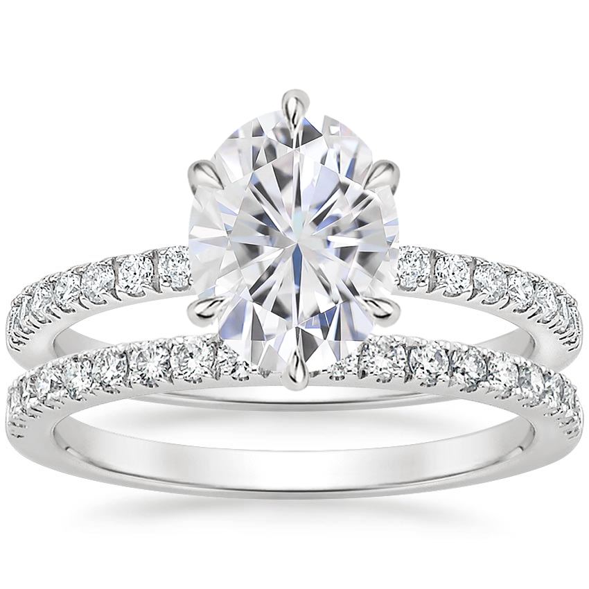 18KW Moissanite Poppy Diamond Ring (1/6 ct. tw.) with Bliss Diamond Ring (1/5 ct. tw.), top view