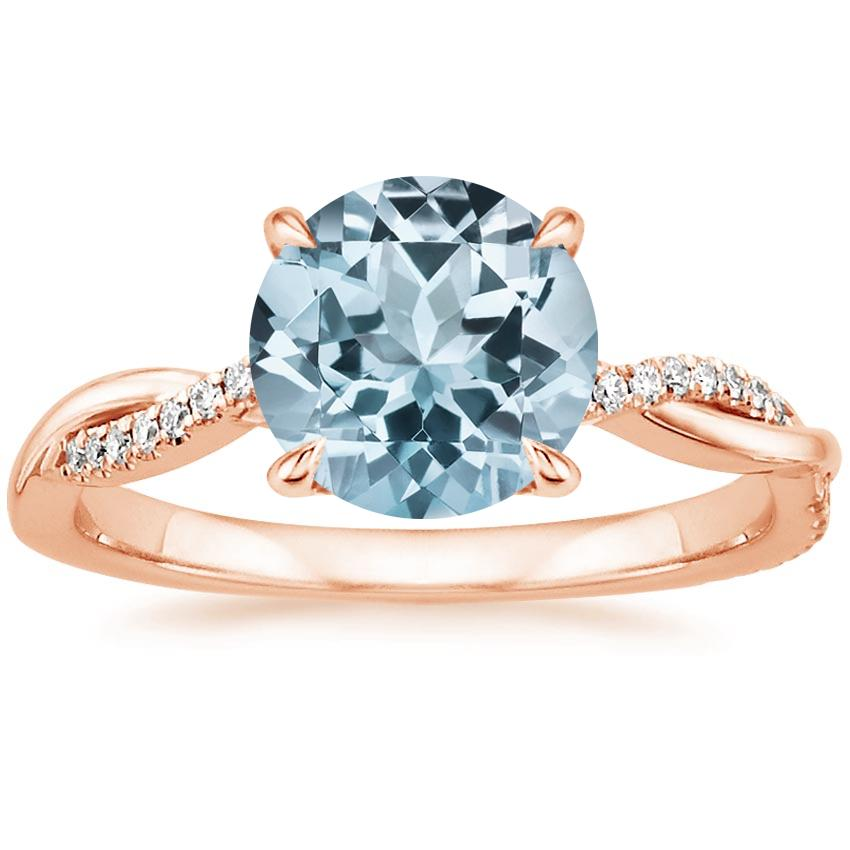 Rose Gold Aquamarine Petite Twisted Vine Diamond Ring (1/8 ct. tw.)