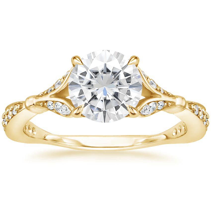 Yellow Gold Moissanite Zinnia Diamond Ring (1/3 ct. tw.)