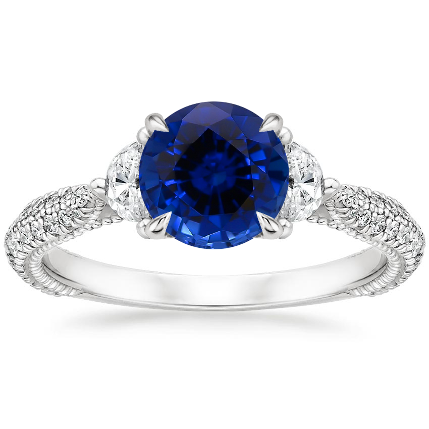 Sapphire Rosemont Diamond Ring in 18K White Gold