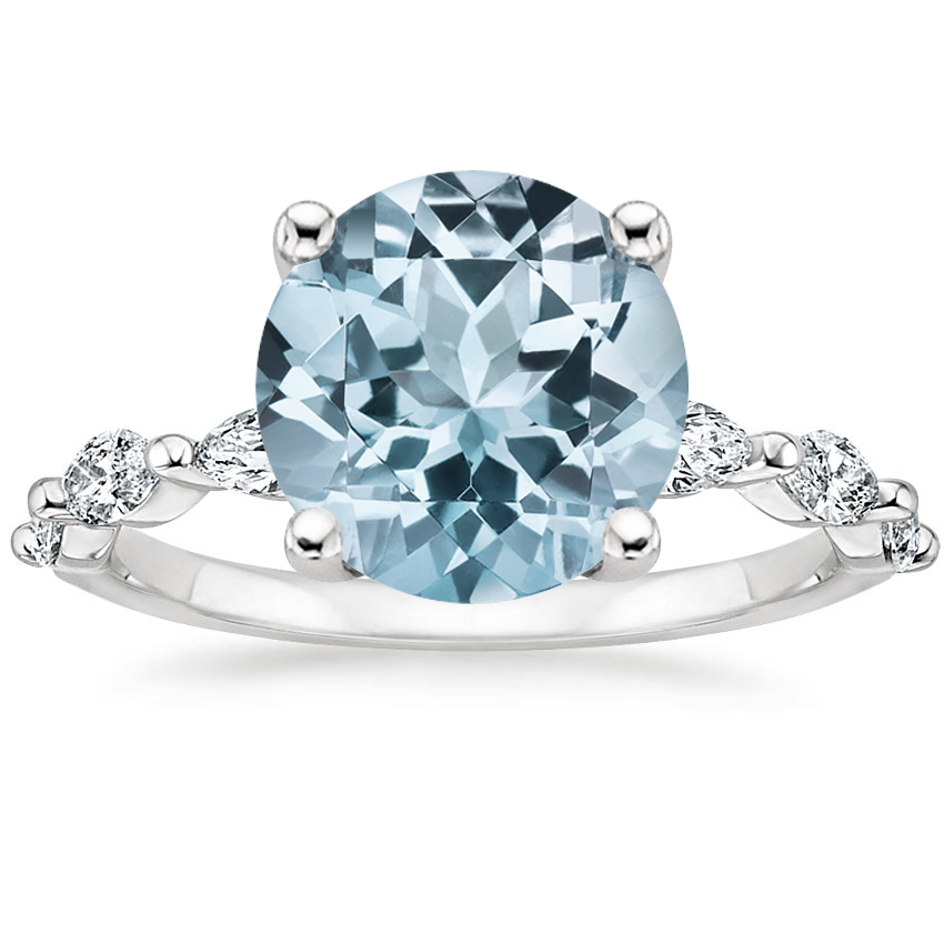 Aquamarine Joelle Diamond Ring (1/3 ct. tw.) in 18K White Gold