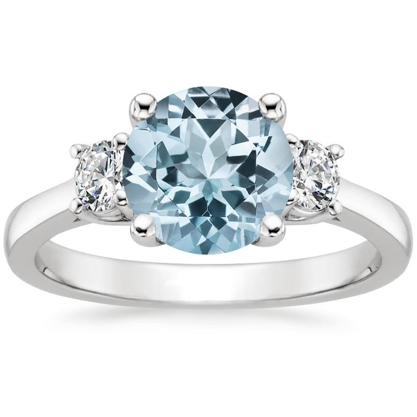 Aquamarine Petite Three Stone Trellis Diamond Ring (1/3 ct. tw.) in 18K White Gold