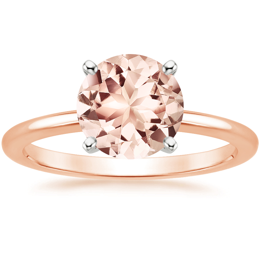 Rose Gold Morganite Four-Prong Petite Comfort Fit Ring