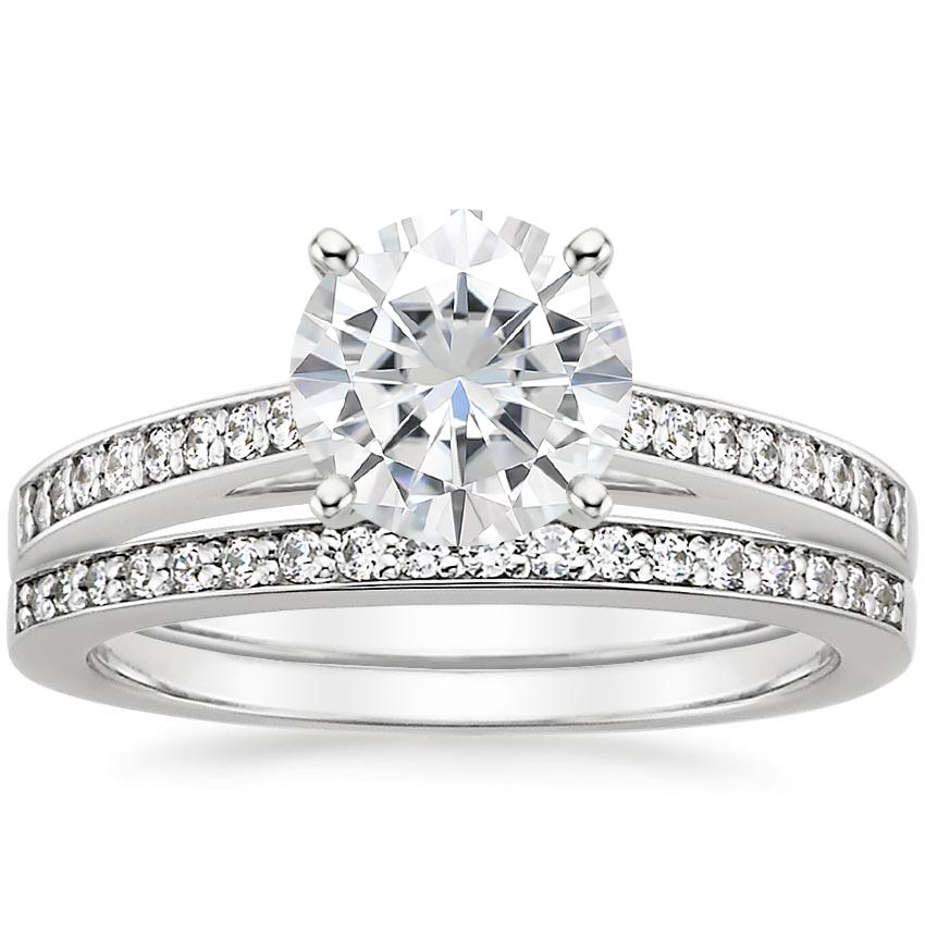18KW Moissanite Starlight Diamond Bridal Set (1/4 ct. tw.), top view