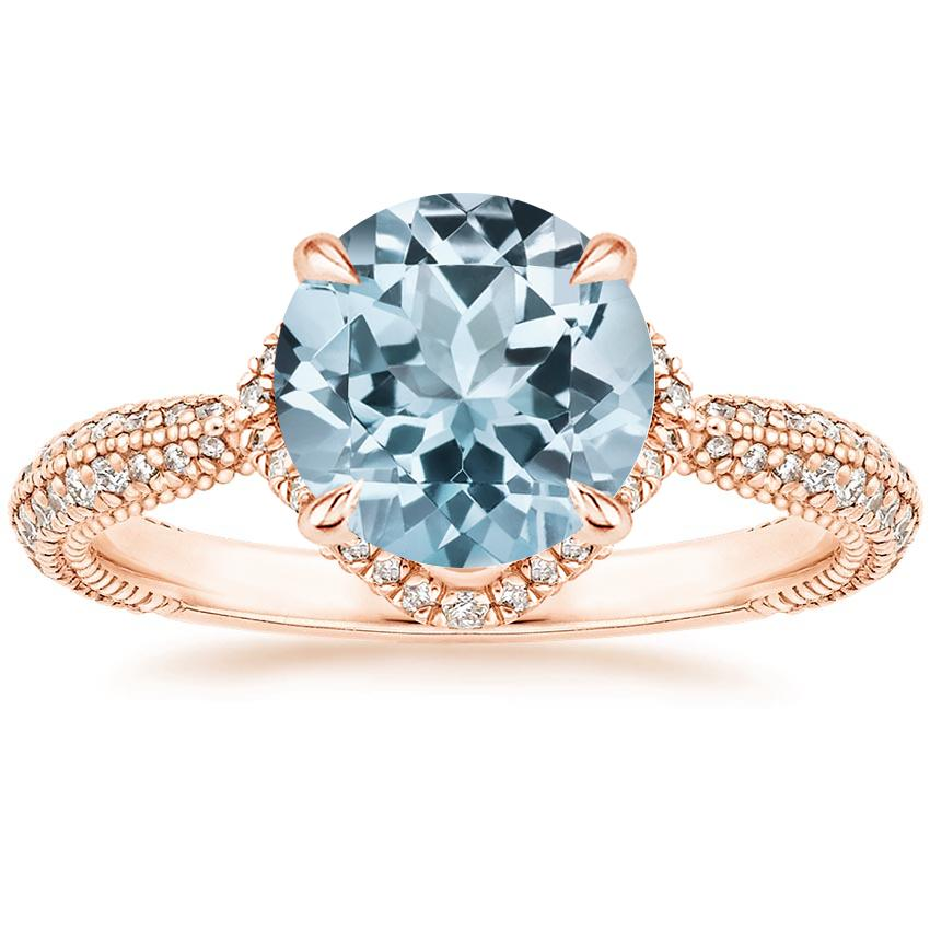Rose Gold Aquamarine Aster Diamond Ring (1/3 ct. tw.)