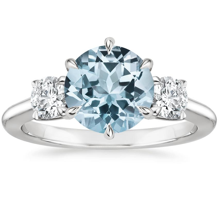 Aquamarine Three Stone Catalina Diamond Ring (1/2 ct. tw.) in 18K White Gold