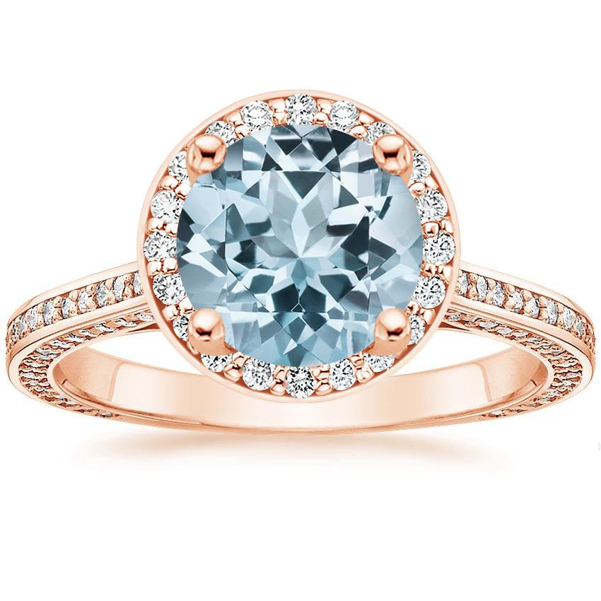 Rose Gold Aquamarine Enchant Halo Diamond Ring