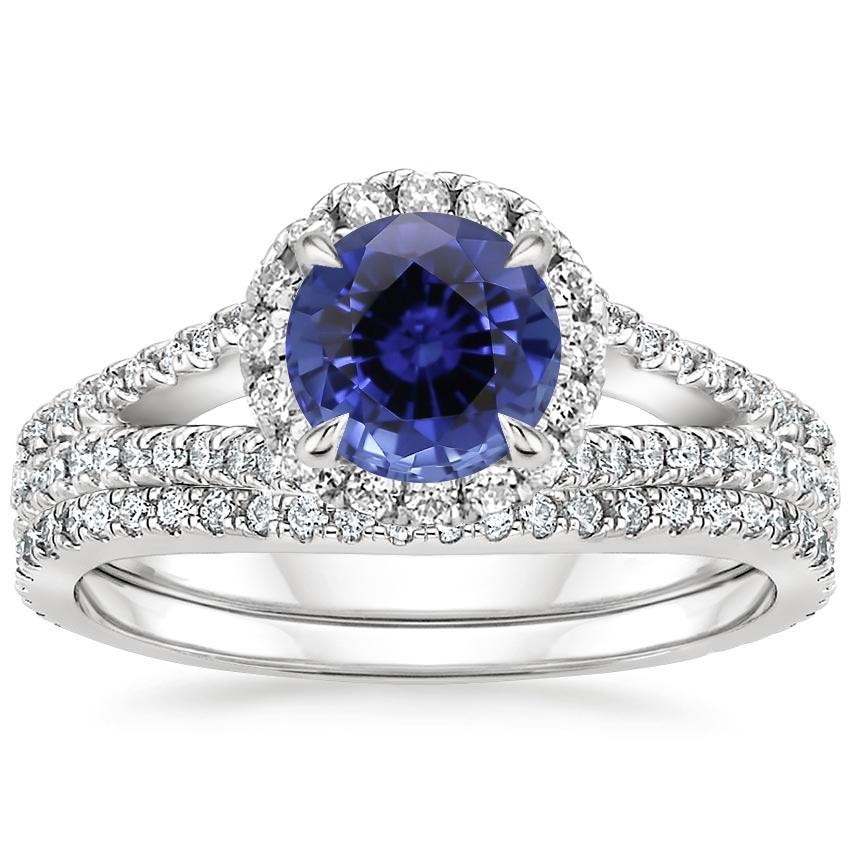 18KW Sapphire Fortuna Diamond Bridal Set (2/3 ct. tw.), top view