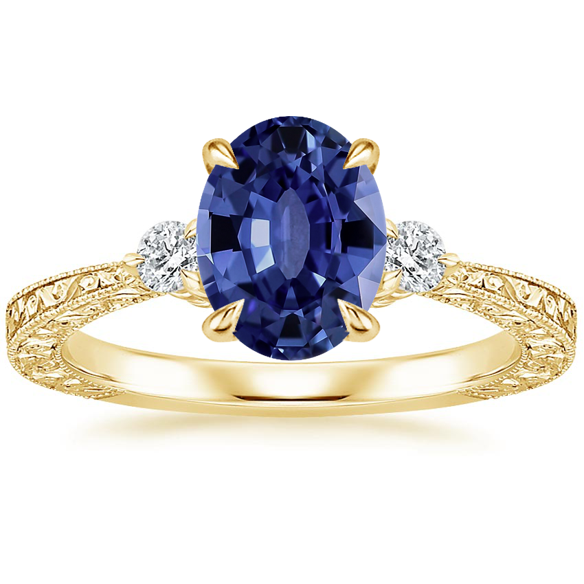 Yellow Gold Sapphire Bristol Diamond Ring