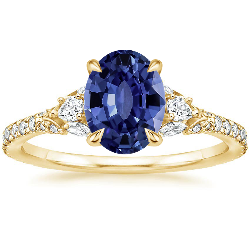 Yellow Gold Sapphire Ava Diamond Ring (1/2 ct. tw.)