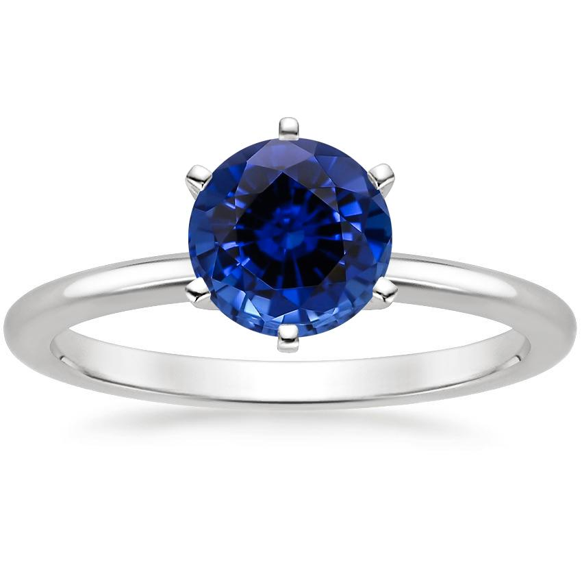 Lab Created Sapphire Six-Prong Petite Comfort Fit Ring in Platinum