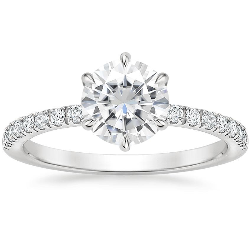 Moissanite Poppy Diamond Ring (1/6 ct. tw.) in 18K White Gold