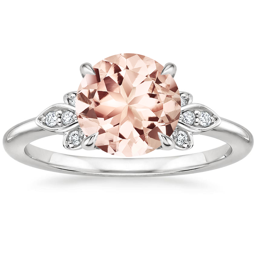 Morganite Fiorella Diamond Ring in 18K White Gold