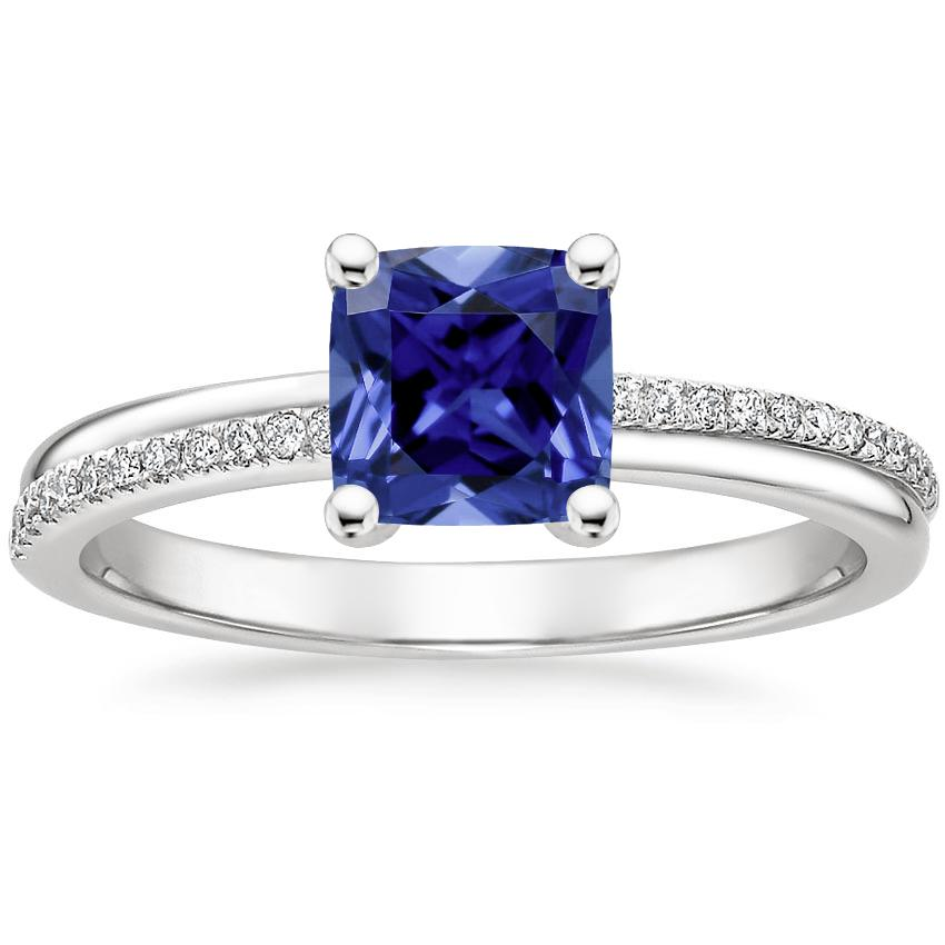 Sapphire Symphony Diamond Ring in 18K White Gold