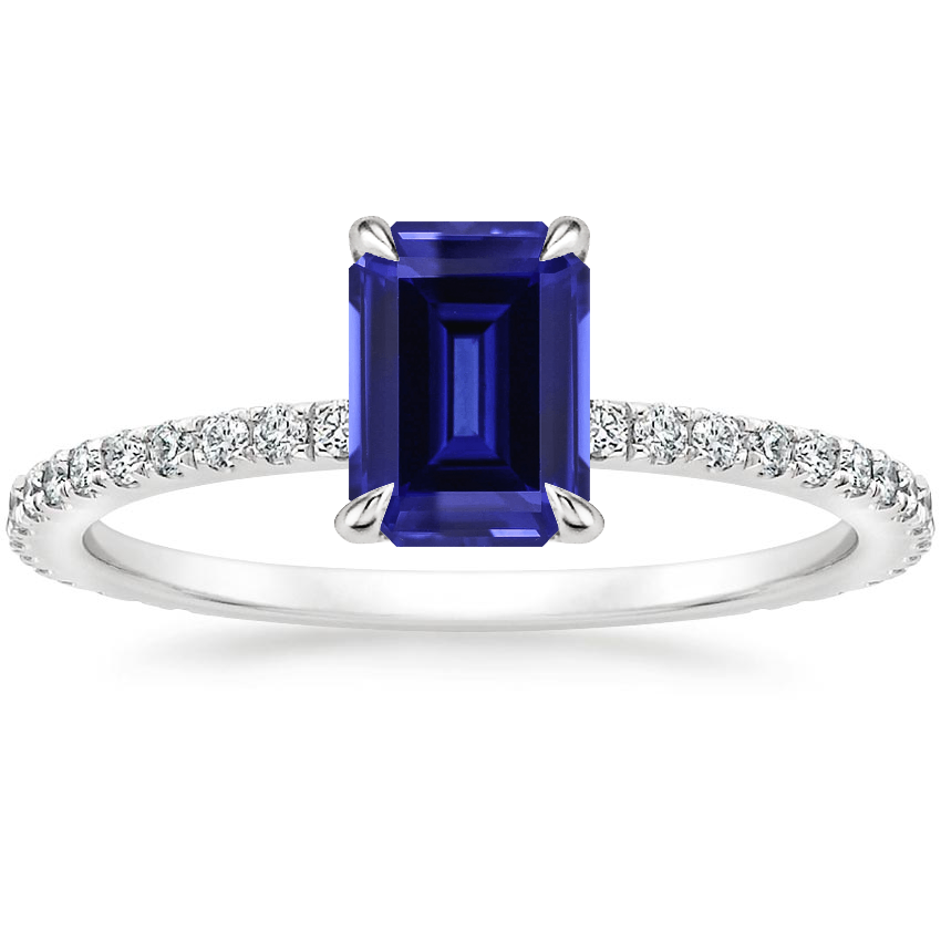 Sapphire Mixed Metal Demi Diamond Ring (1/3 ct. tw.) in 18K White Gold