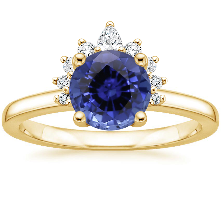 Yellow Gold Sapphire Crescent Diamond Ring