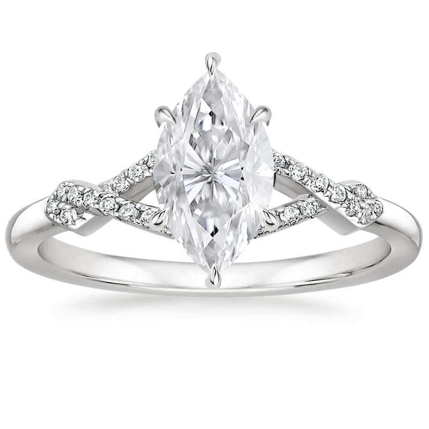 Moissanite Vera Diamond Ring in 18K White Gold