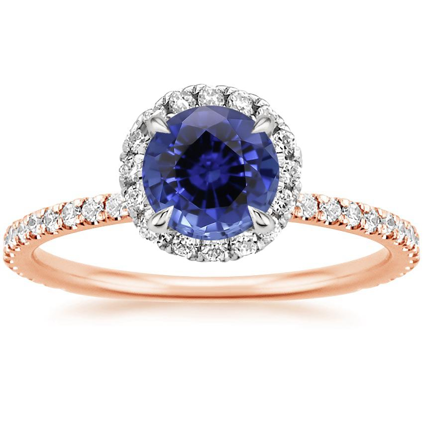 Rose Gold Sapphire Mixed Metal Waverly Diamond Ring (1/2 ct. tw.)