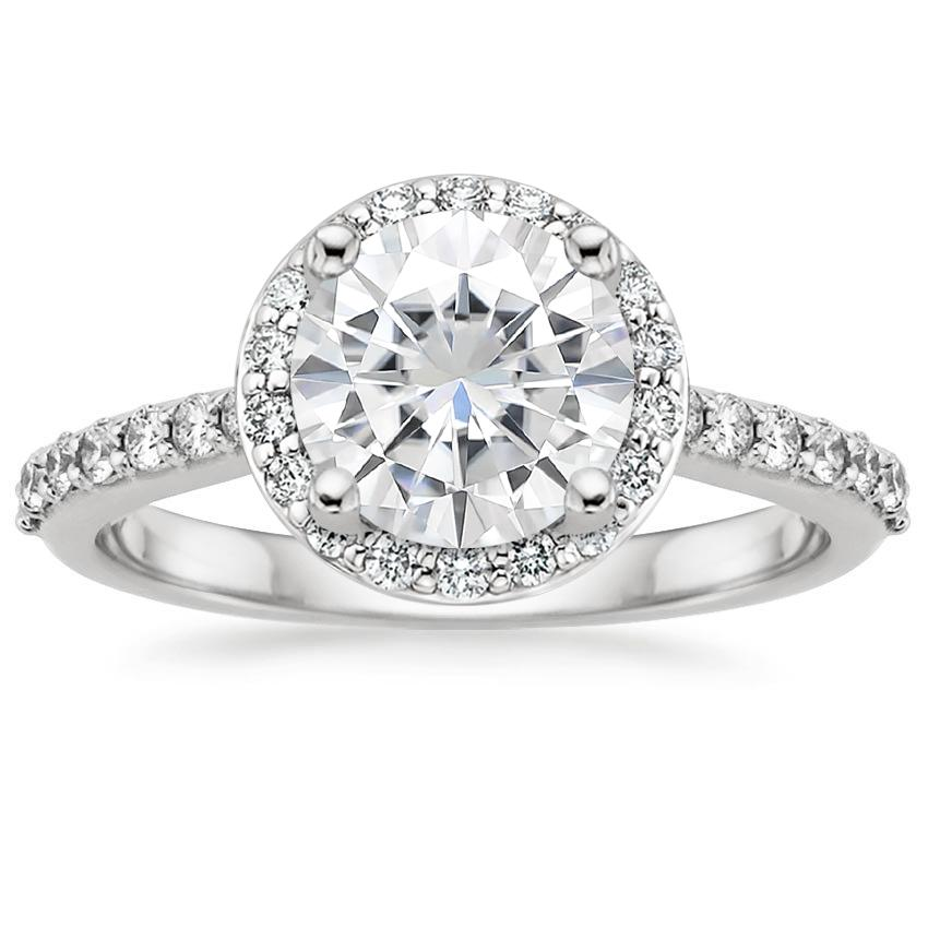 Moissanite Halo Diamond Ring with Side Stones (1/3 ct. tw.) in Platinum