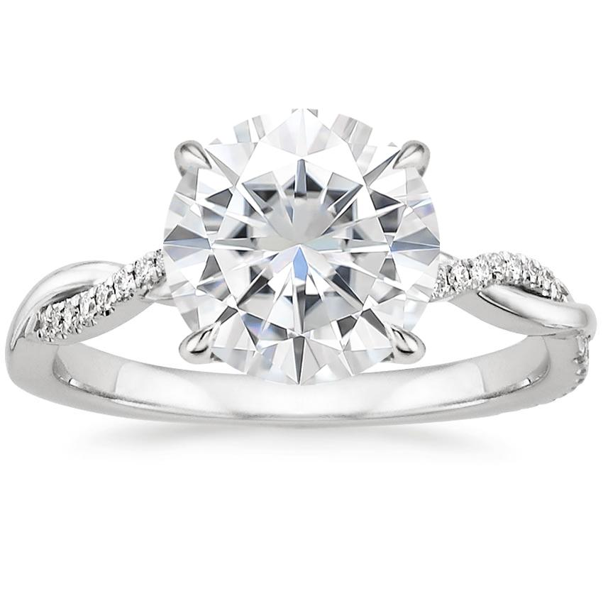 Moissanite Petite Twisted Vine Diamond Ring (1/8 ct. tw.) in 18K White Gold