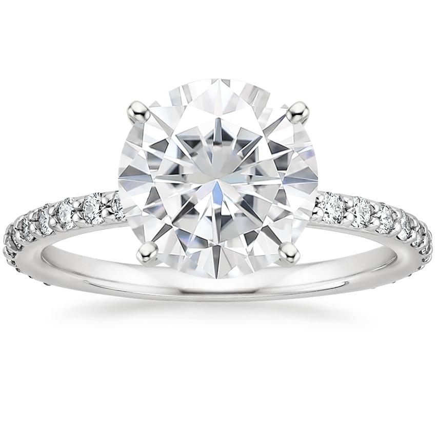 Moissanite Luxe Petite Shared Prong Diamond Ring (1/3 ct. tw.) in Platinum