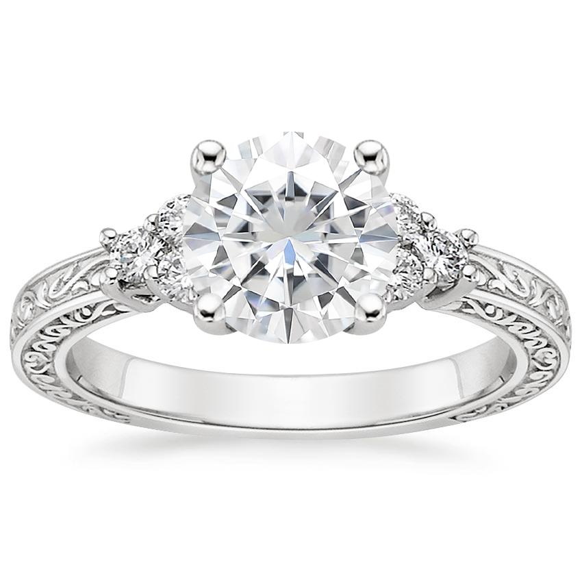 Moissanite Adorned Trio Diamond Ring in 18K White Gold