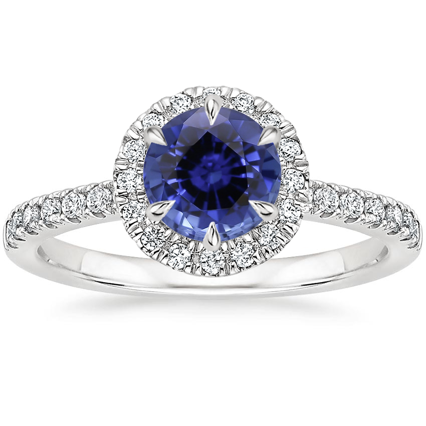 Sapphire Poppy Halo Diamond Ring (1/3 ct. tw.) in 18K White Gold