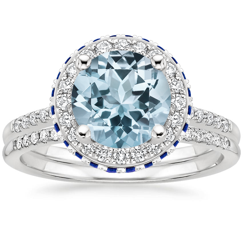 18KW Aquamarine Circa Diamond Ring with Sapphire Accents (1/4 ct. tw.) with Whisper Diamond Ring (1/10 ct. tw.), top view