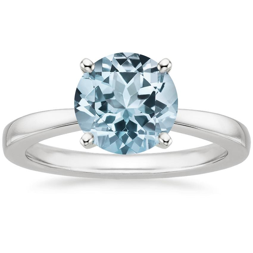 Aquamarine Petite Taper Ring in 18K White Gold