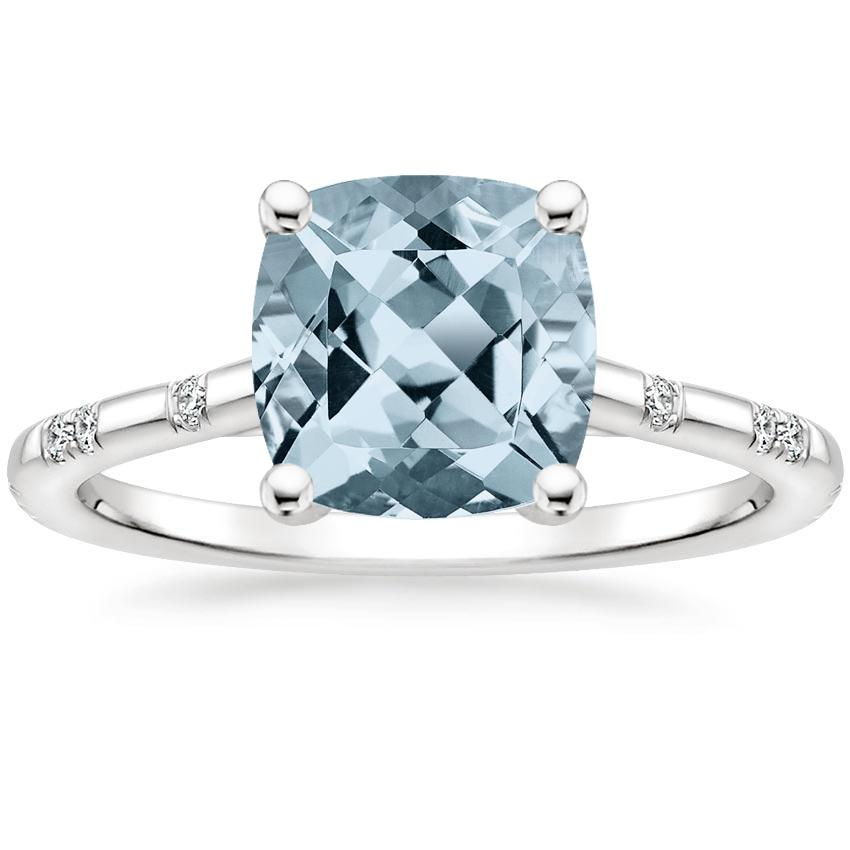 Aquamarine Astra Diamond Ring in 18K White Gold