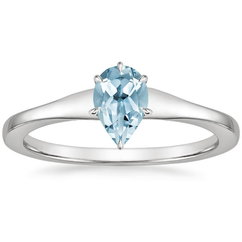 Aquamarine Muse Ring in 18K White Gold