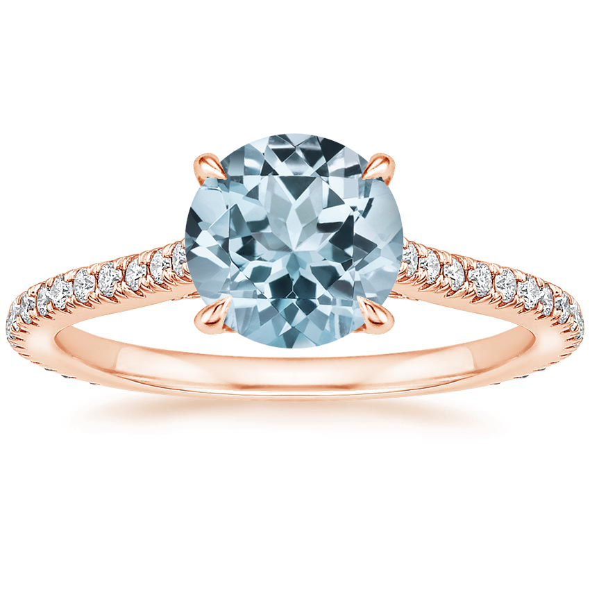 Rose Gold Aquamarine Arbor Diamond Ring (1/3 ct. tw.)