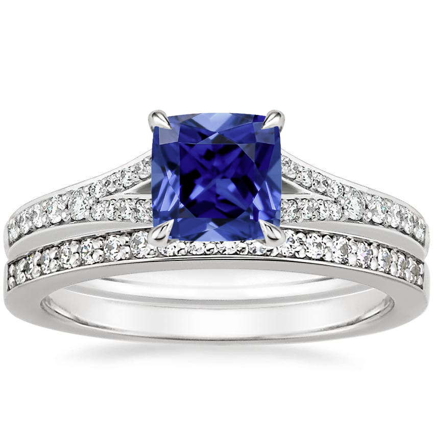 18KW Sapphire Duet Diamond Bridal Set (1/3 ct. tw.), top view