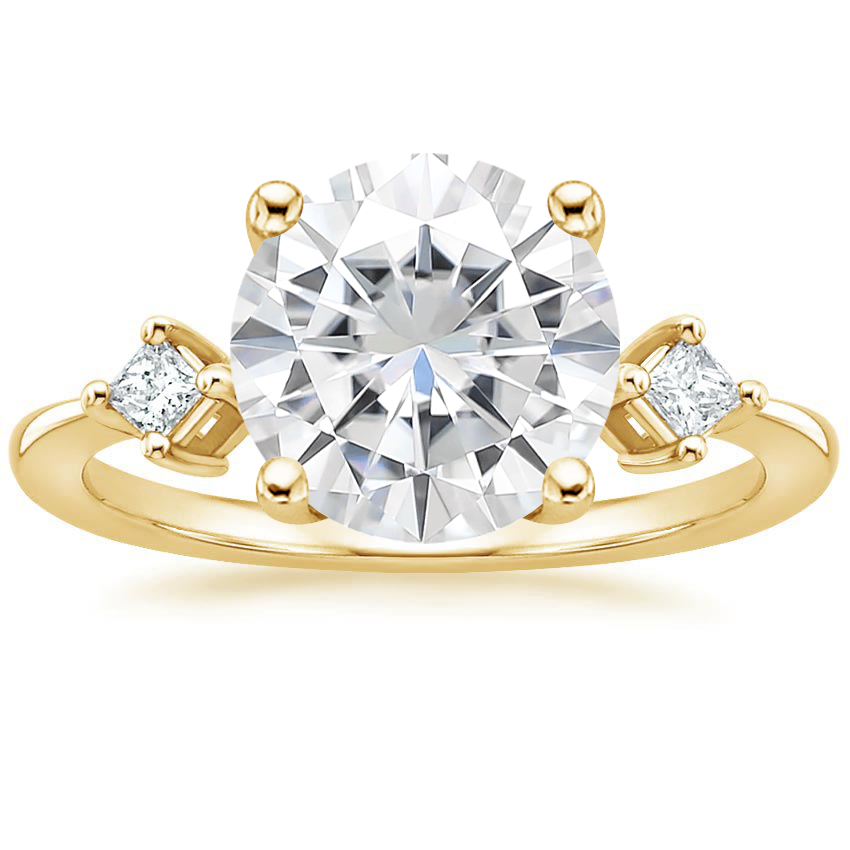 Yellow Gold Moissanite Tria Diamond Ring