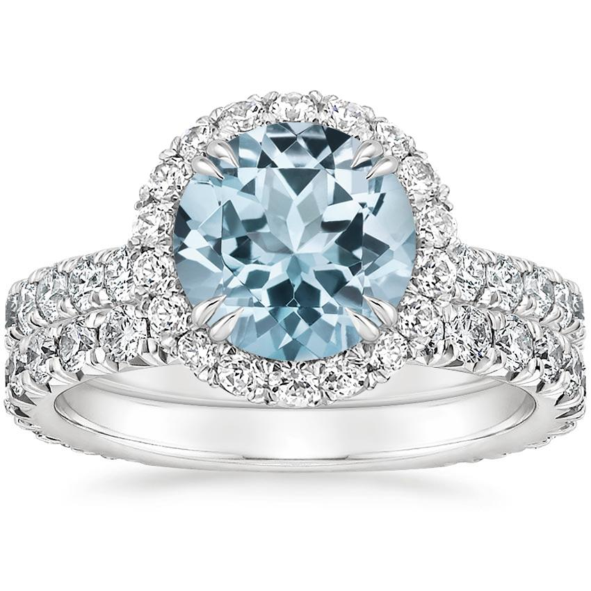 18KW Aquamarine Luxe Sienna Halo Diamond Bridal Set (1 3/8 ct. tw.), top view