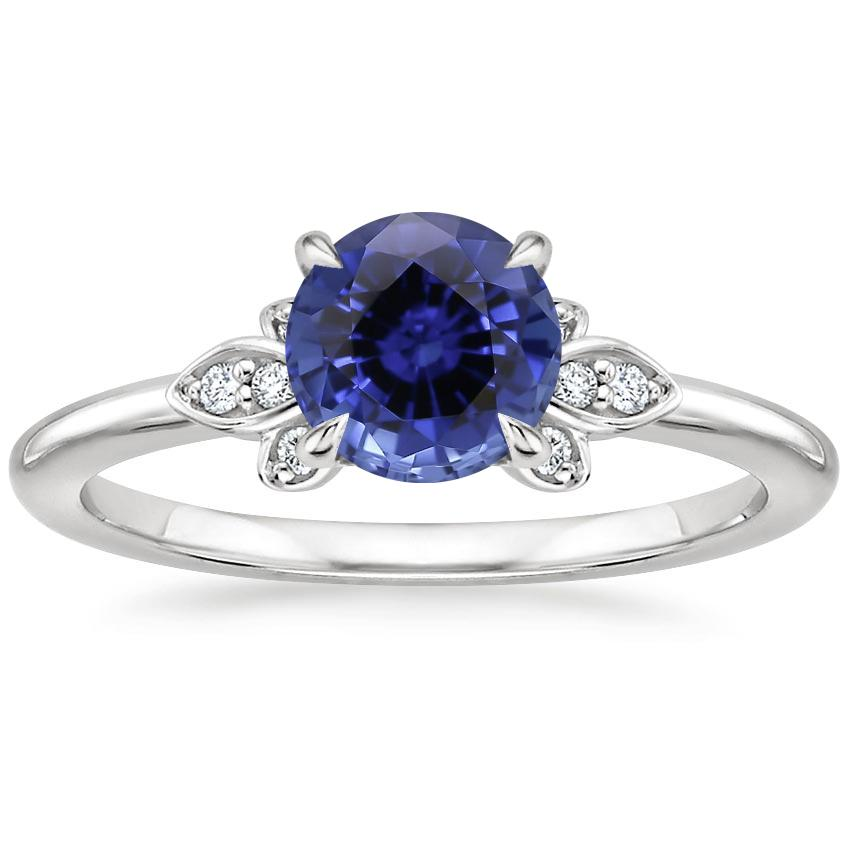 Sapphire Fiorella Diamond Ring in 18K White Gold
