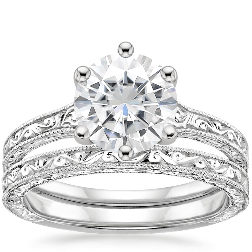 18KW Moissanite Hudson Bridal Set, top view