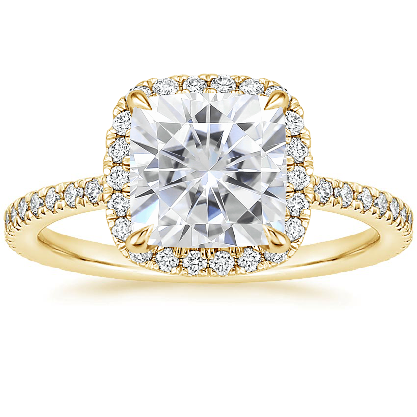 Yellow Gold Moissanite Luxe Ballad Halo Diamond Ring (1/3 ct. tw.)