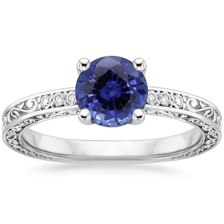 Sapphire Delicate Antique Scroll Diamond Ring in 18K White Gold