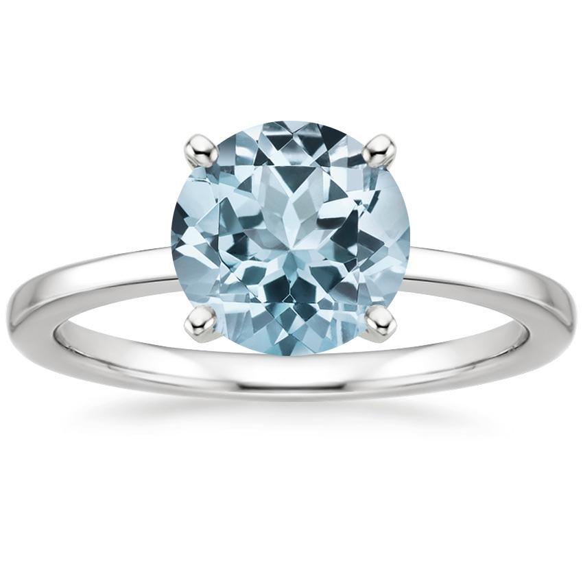 Aquamarine Petite Quattro Ring in 18K White Gold