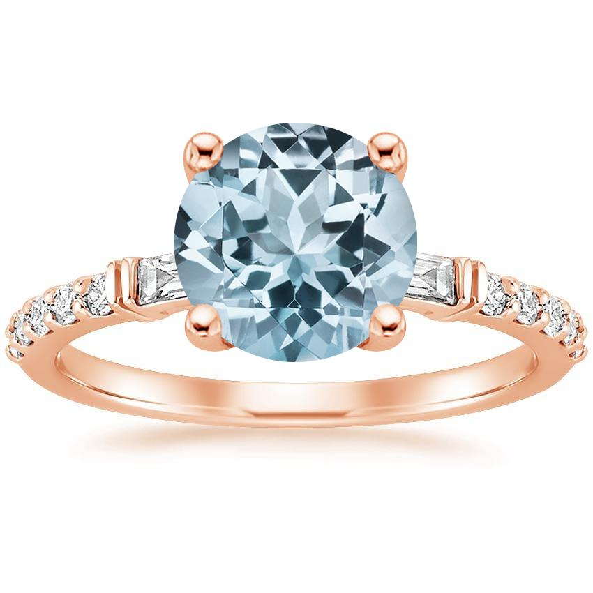 Rose Gold Aquamarine Regency Diamond Ring (1/4 ct. tw.)