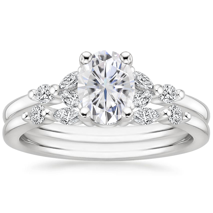 18KW Moissanite Verbena Diamond Bridal Set (1/4 ct. tw.), top view