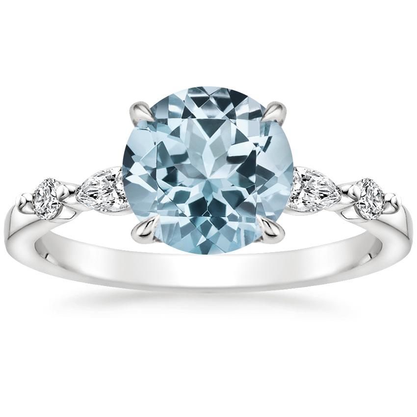 Aquamarine Petite Versailles Diamond Ring (1/5 ct. tw.) in 18K White Gold