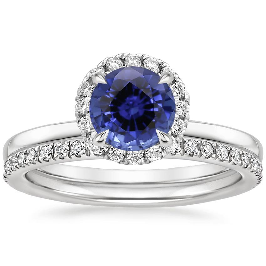 18KW Sapphire Vienna Diamond Bridal Set (1/2 ct. tw.), top view